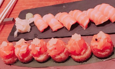 Salmon Sushi Pizza & Salmon Nigiri