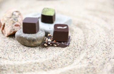 "Three varieties of Sake-kasu Chocolates - ""Matcha"" flavour, ""Soy Milk"" flavour, and ""Chocolate Mousse"" flavour"